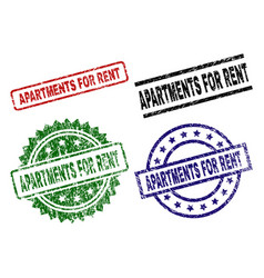 Grunge textured apartments for rent stamp seals vector