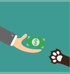 Hand giving paper money cash with dollar sign dog vector