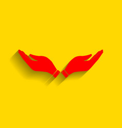 hand sign red icon with soft vector image