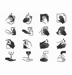 hand washing icons set black vector image