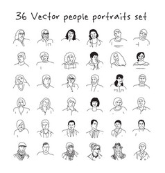 happy adult people faces icons set black and white vector image