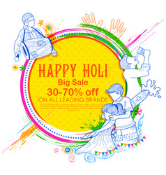 happy holi advertisement promotional background vector image