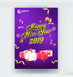 happy new year 2019 sale flyer poster template vector image