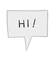 Hi in speech bubble hand drawn vector