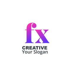 Initial letter fx lowercase design logo template vector