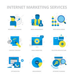 internet marketing services flat icons vector image