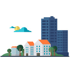 landscape with skyscrapers and small houses vector image