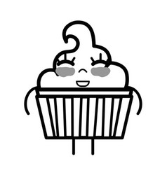 Line kawaii cute happy muffin dessert vector
