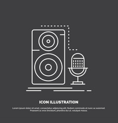 live mic microphone record sound icon line symbol vector image