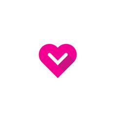 love letter v logo icon design vector image