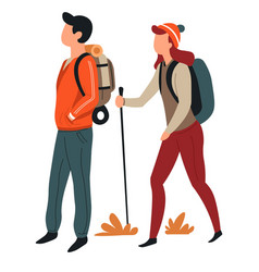 man and woman hiking with backpacks couple active vector image