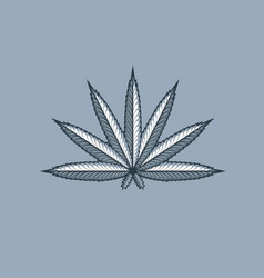 marijuana leaf cannabis weed monochrome tattoo vector image