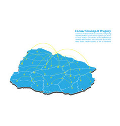 Modern of uruguay map connections network design vector