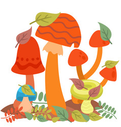 Mushrooms fungus agaric toadstool different art vector