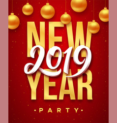 new year 2019 party flyer template vector image