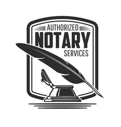 Notary or legal service icon feather pen inkwell vector