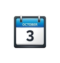 October 3 calendar icon flat vector