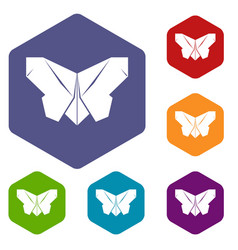 origami butterfly icons hexahedron vector image