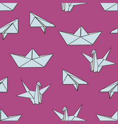 Origami seamless pattern with origami figures on vector