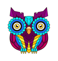 Ornamental color owl with flowers and mandala vector