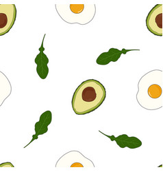 pattern with avocado and arugula vector image