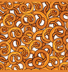 pattern with many delicious pretzels vector image