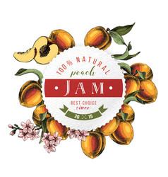 peach jam paper emblem over hand drawn peach vector image