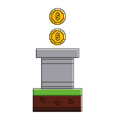 pixeled golden coin treasure wall brick video game vector image