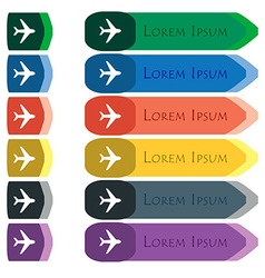 Plane icon sign Set of colorful bright long vector image