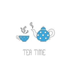 Polka dots tea pot and cup on white background vector image