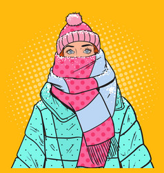 Pop art portrait woman in warm winter clothes vector