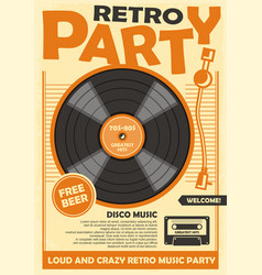 retro party poster template vector image