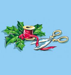 Ribbon christmas decoration vector