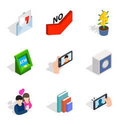 Rumor icons set isometric style vector