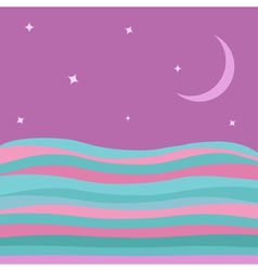 Sea Ocean water with blue pink waves violet sky vector image