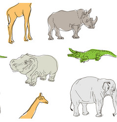 Seamless background wild beasts concept vector