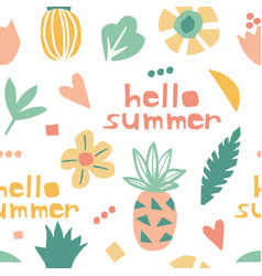 Seamless pattern with cute doodle pineapples vector