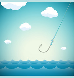 Seascape with fishing hook vector
