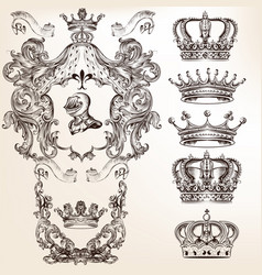 Set of crowns and detailed shields vector
