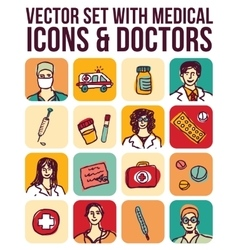 set with medical icons and doctors vector image