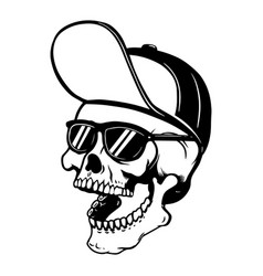 skull in baseball cap and sun glasses design vector image
