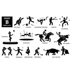 Sport games alphabet b icons pictograph boli khela vector