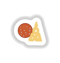 Stylish paper sticker a piece of sausage vector