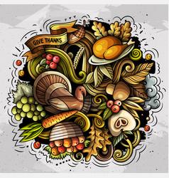 Thanksgiving hand drawn cartoon doodles vector