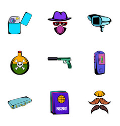 thief icons set cartoon style vector image