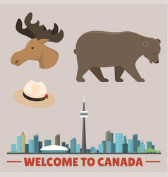 Travel canada traditional objects country tourism vector