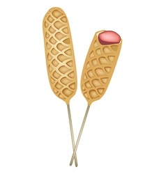 Two Freshly Corn Dogs or Hot Dog Waffles vector image