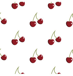 Two ripe red cherry berries pattern flat vector