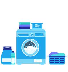 washing machine during powder liquid vector image