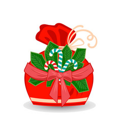 Winter sack with stripe branch with bow and ribbon vector